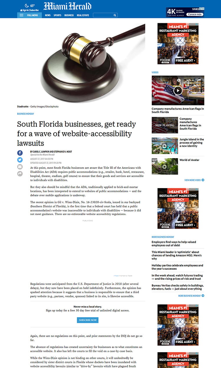 Miami Herald - South Florida businesses, get ready for a wave of website-accessibility lawsuits