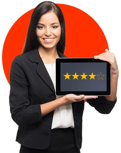 Online Reputation - Girl holding a tablet showing on the screen 4 out of 5 stars
